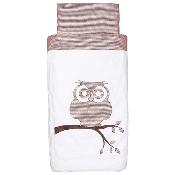 Jollein Dekbedovertrek 100x140cm Organic Owl pink/brown