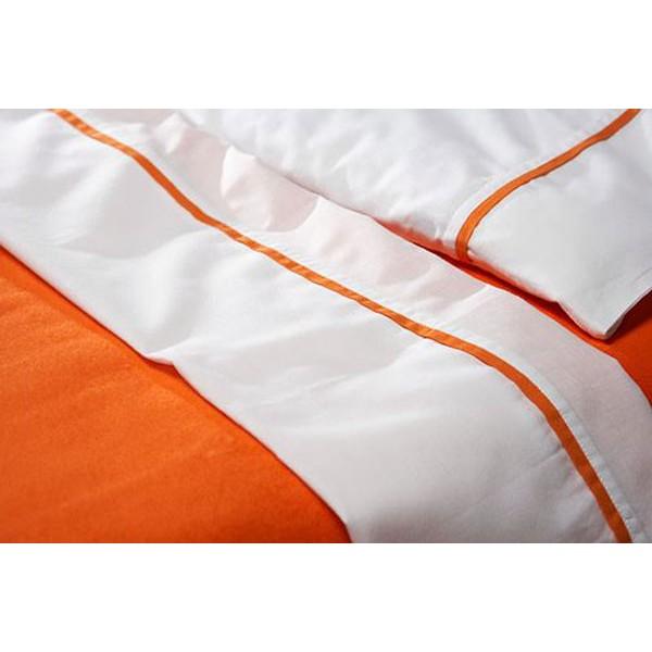 Jollein Laken en sloop 100x150cm wit met bies oranje