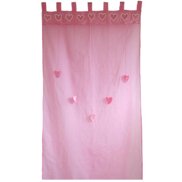 Taftan Gordijn Organdi Hartjes Roze
