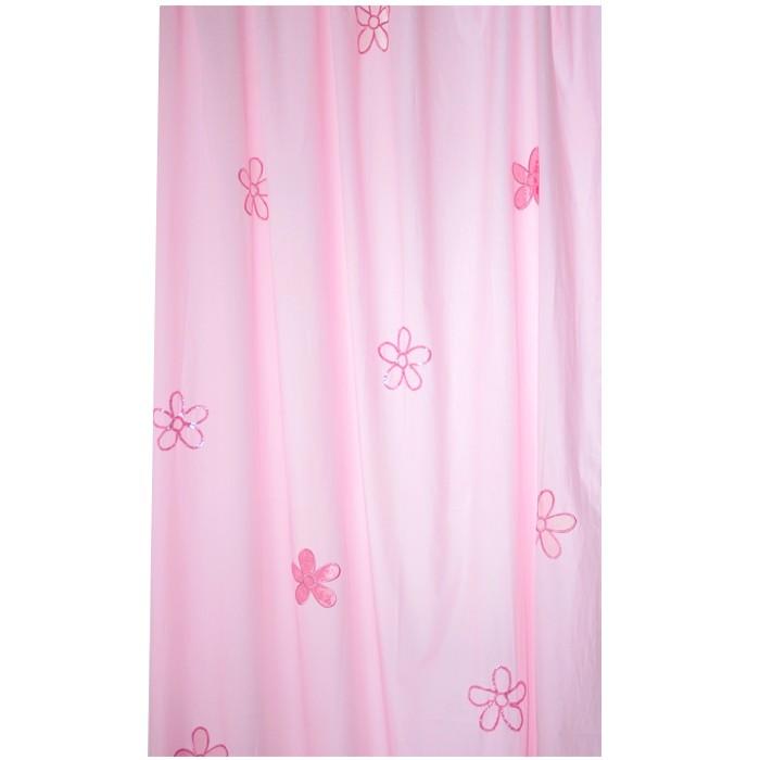 Taftan Gordijn Beads Flower Roze