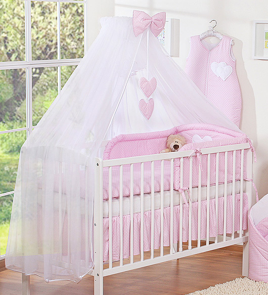3-delig Bedset Two Hearts Voile Dots-Roze