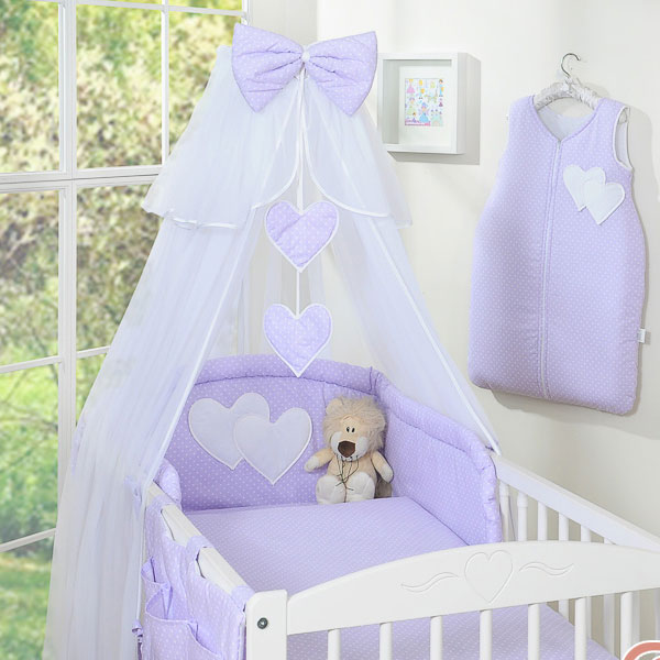 3-Delig Bedset Two Hearts Voile Dots-Paars