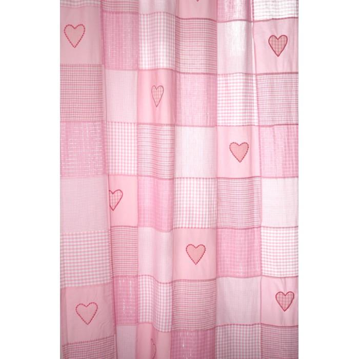 Taftan Gordijn Ruitjes Patch met hartjes Roze