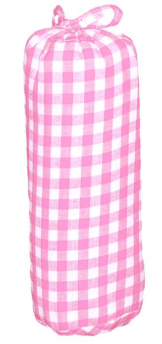Taftan Hoeslaken grote ruit Roze 90x200cm