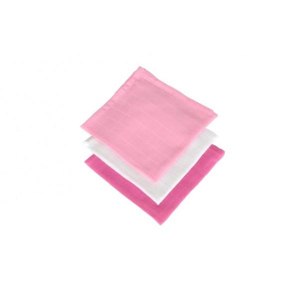 Jollein Monddoekje hydrofiel fuchsia/roze/wit (3stuks)