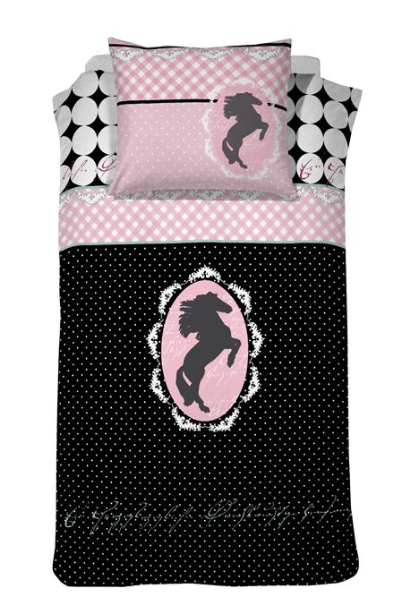 Damai Dekbedovertrek Cavallo zwart/roze