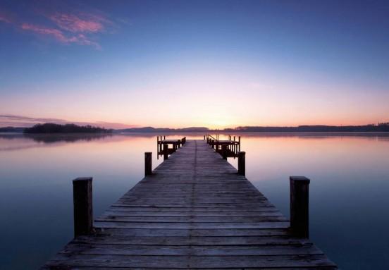 Wizzard and Genius Fotobehang Pier at Sunrise