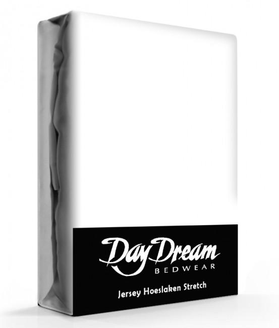 Day Dream Jersey Hoeslaken Wit-90 x 200 cm