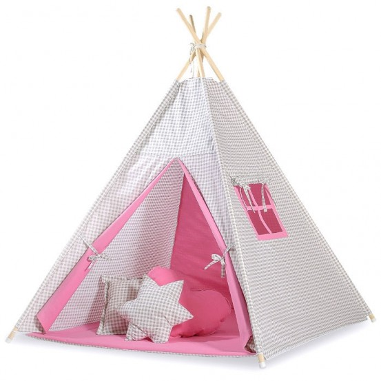 Tipi Speeltent Checkered Grey-Pink