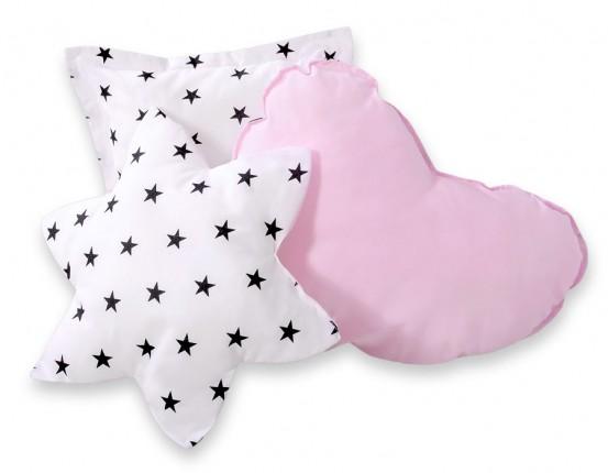 3-Delige Kussenset Stars Black-Pink