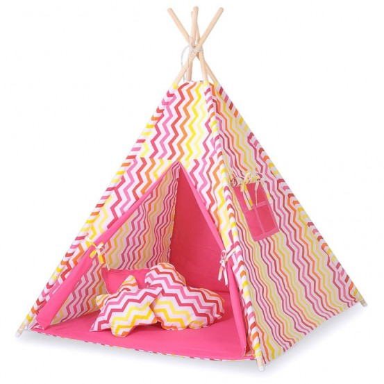 Tipi Speeltent Chevron Pink-Yellow