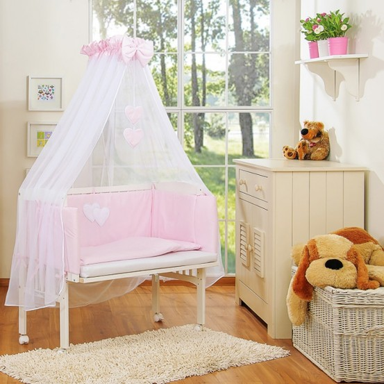 Aanschuifwieg Babywieg Set Two Hearts Roze