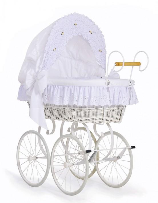 Klassieke Rieten Wieg/Kinderwagen Wit