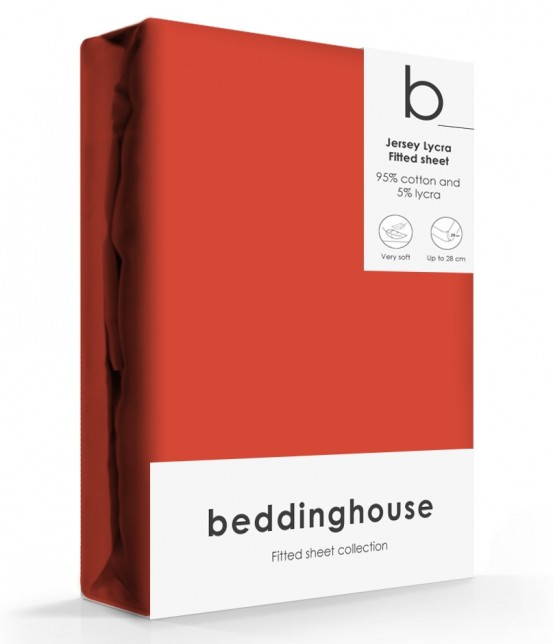 Beddinghouse Jersey-Lycra Hoeslaken Coral Red