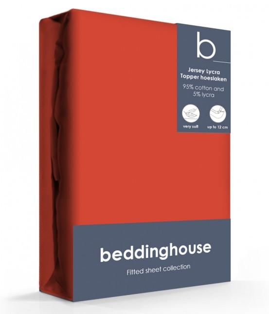 Beddinghouse Jersey-Lycra Topper Hoeslaken Koraal Rood