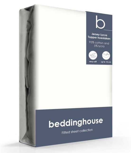 Beddinghouse Jersey-Lycra Topper Hoeslaken Koraal Offwhite