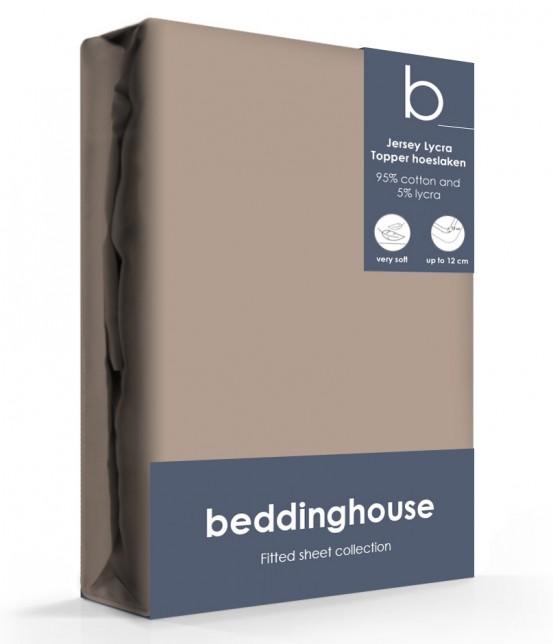 Beddinghouse Jersey-Lycra Topper Hoeslaken Koraal Taupe