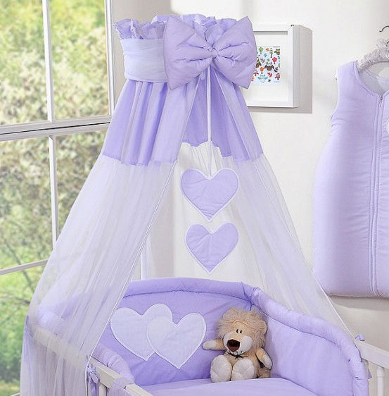 3-Delig Bedset Two Hearts Voile/Katoen Paars