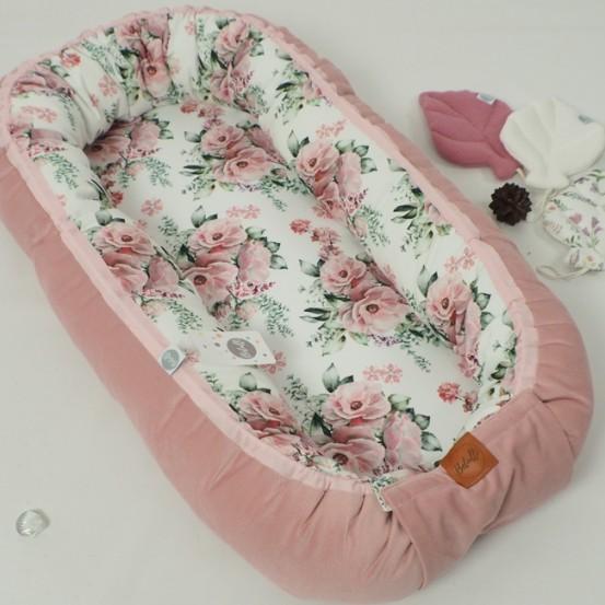 Betulli Babynestje Fluweel Peonies Pink