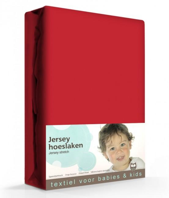 Briljant Hoeslaken Jersey 60x120cm Rood