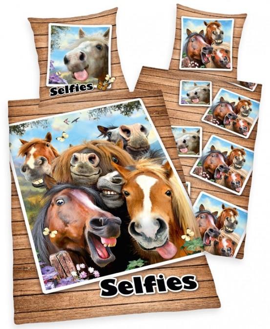 Dekbedovertrek Selfies Paarden