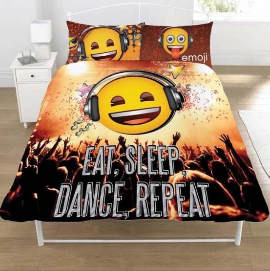 Emoji Dekbedovertrek Eat Sleep Dance Repeat Tweepersoons 200 x 200 cm