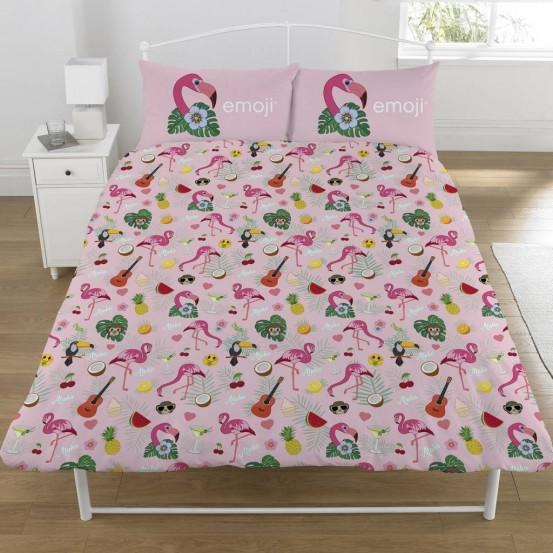 Emoji dekbedovertrek Flamingo Multi