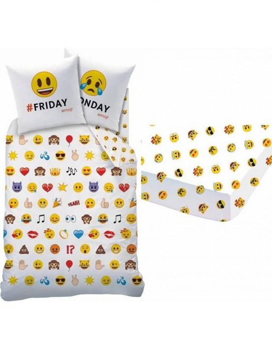 Emoji Emotions dekbedovertrek en hoeslaken set