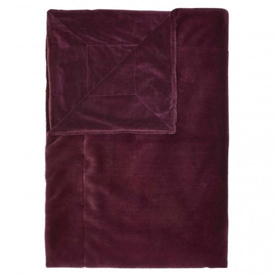 Essenza plaid Furry Burgondy 150 x 200 cm
