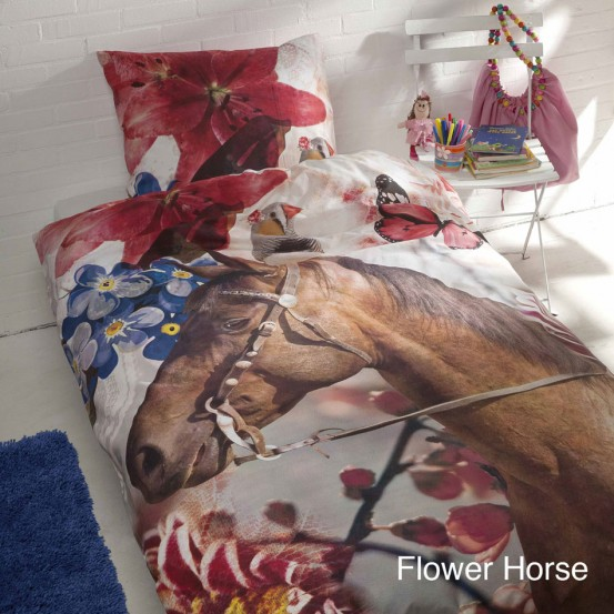 Paarden Dekbedovertrek Flower Horse