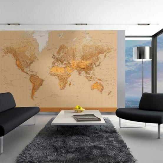Fotobehang Worldmap (366 x 254 cm)