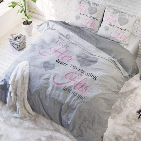 Sleeptime Dekbedovertrek Her Heart, His Name Grijs 140 x 200/220 cm