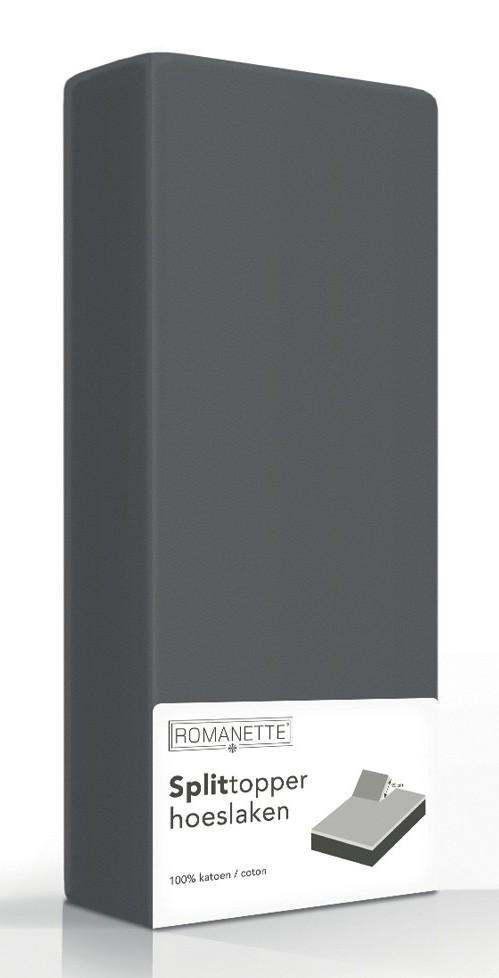 Split-Topper Hoeslaken Romanette Antraciet