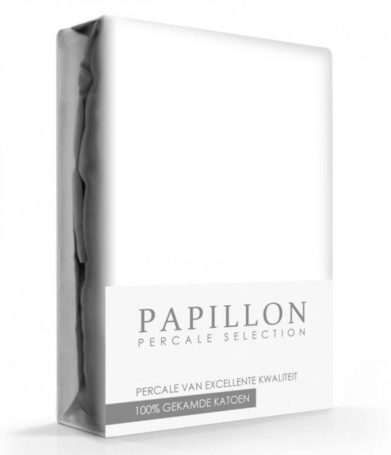 Topdek hoeslaken Percal Papillon Wit