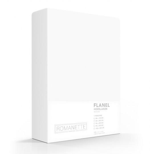 Flanellen Hoeslaken Wit Romanette