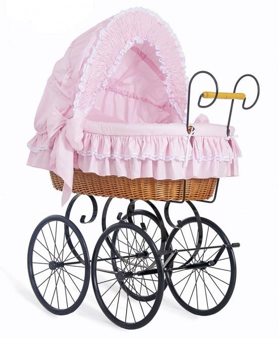 Klassieke Rieten Wieg/Kinderwagen Roze