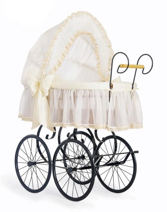 Klassieke Rieten Wieg/Kinderwagen Brocante