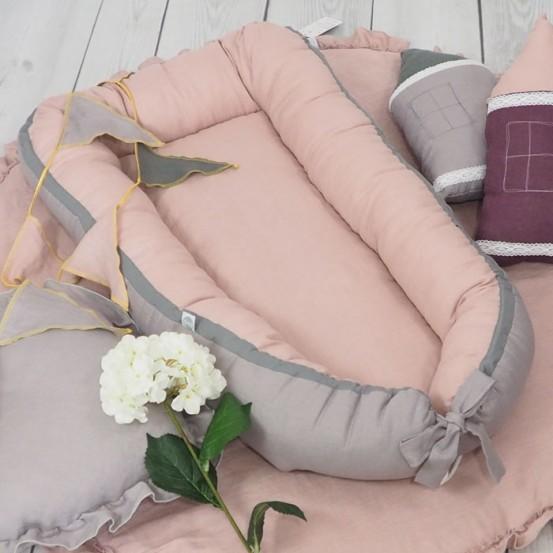 Linnen Babynestje Dusty Pink Betulli