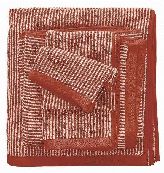 Marc O'Polo badgoed Timeless Tone Stripe burnt Orange & Oatmeal