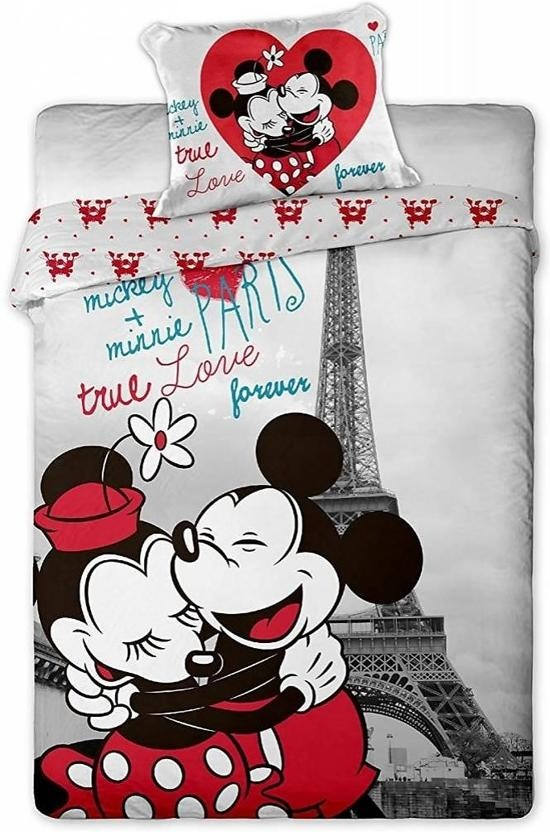 Dekbedovertrek Minnie & Mickey Mouse Paris 140x200 cm
