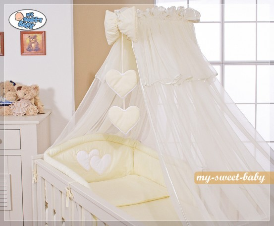 3-Delig Bedset Two Hearts Voile Ecru/Vanille