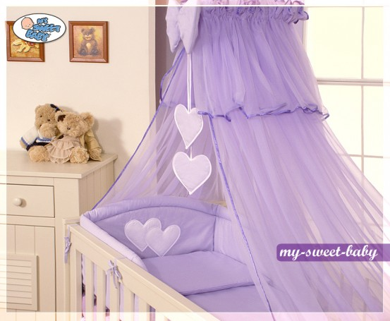 3-Delig Bedset Two Hearts Voile Paars
