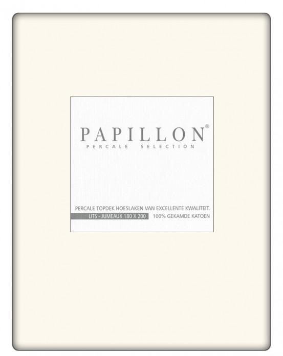 Topdek hoeslaken Percal Papillon Ecru