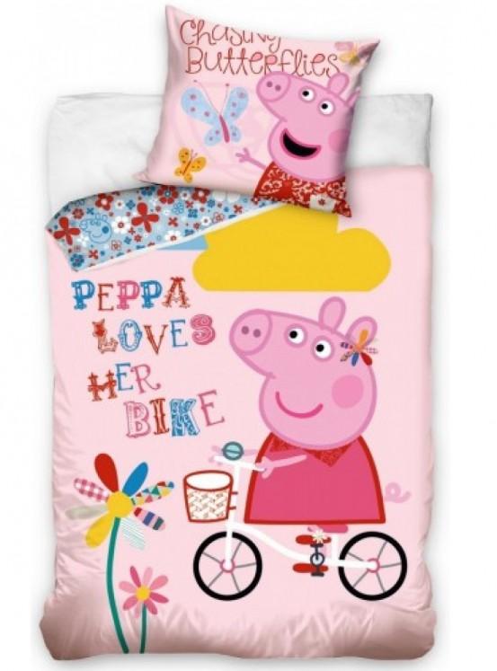 Dekbedovertrek Peppa Pig op de Fiets
