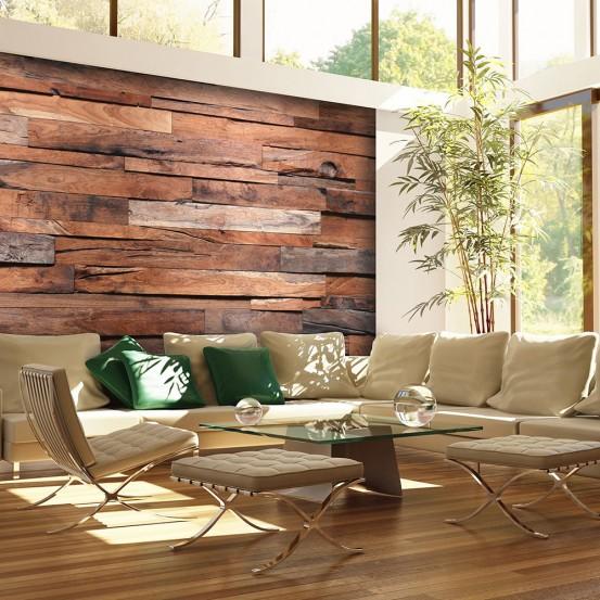 Houten Planken Voor Muur.Fotobehang Houten Muur 366 X 254 Cm
