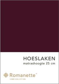 Romanette Hoeslaken Katoen Aubergine-90 x 200 cm