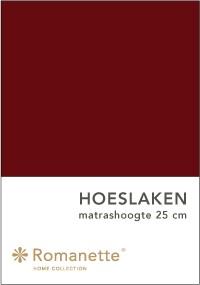Romanette Hoeslaken Katoen Bordeaux -90 x 200 cm