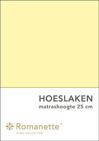 Romanette Hoeslaken Katoen Geel-90 x 200 cm