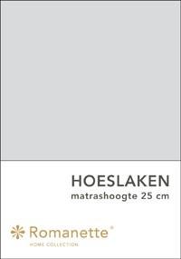 Romanette Hoeslaken Katoen Lichtgrijs-90 x 200 cm