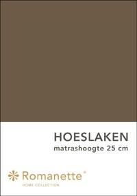 Romanette Hoeslaken Katoen Taupe-90 x 200 cm